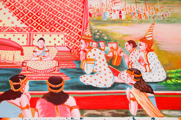 Buddha's biography painting on wall of Wat Non Tae