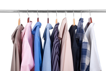 row  shirts  on hangers on a white background