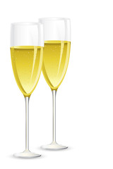 vector illustration of pair of champagne glass