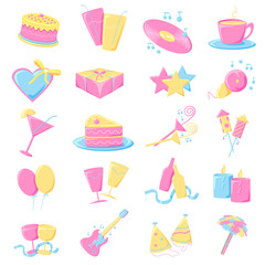 vector illustration of collection of party icon
