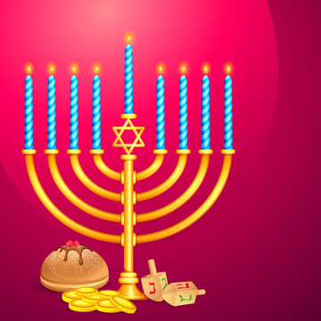 vector illustration of manorah wishing Israel New Year