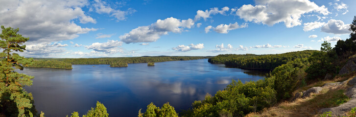 Panorama of Swedish lake in the summer time