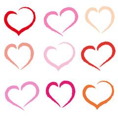 set of drawn hearts