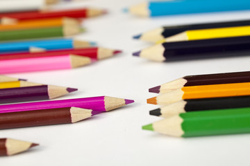 Assorted Pencils On White Surface