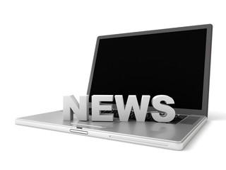 3d laptop with logo NEWS