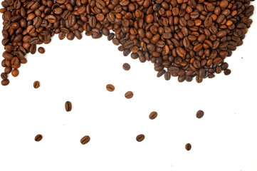 Coffee beans isolated on white background with