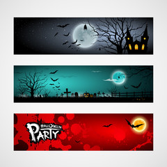 Happy Halloween day banner set design, vector