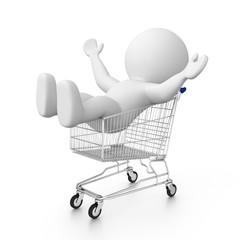 happy 3d human in shopping cart