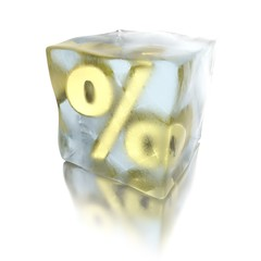 3d ice cube with golden percent inside
