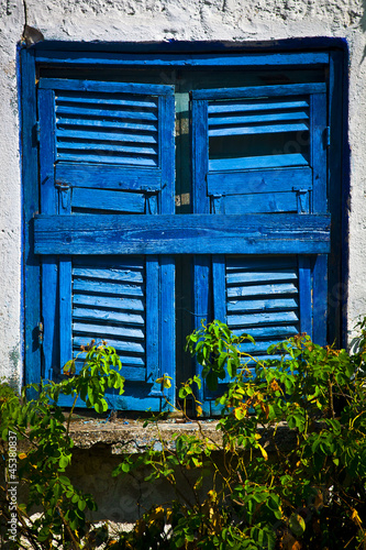 Fotomurales Achient blue window in a white house with roses in Sarti, Greece