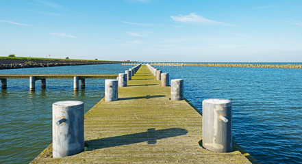 Printed roller blinds Pier Jetty in a lake in autumn