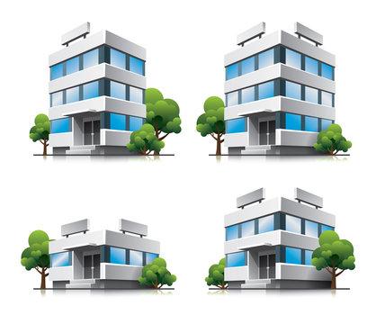 Four cartoon office vector buildings with trees
