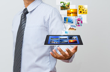 Wall Mural - Technology in business hand