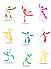 Dancing peoples pictograms