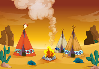 Autocollant pour porte Indiens tent house and fire