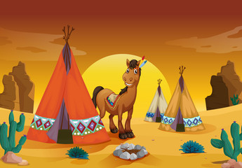 Printed kitchen splashbacks Indians horse and tent house
