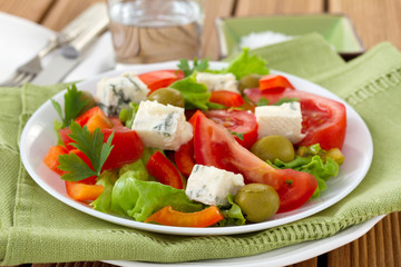 salad with cheese gorgonzola on the plate