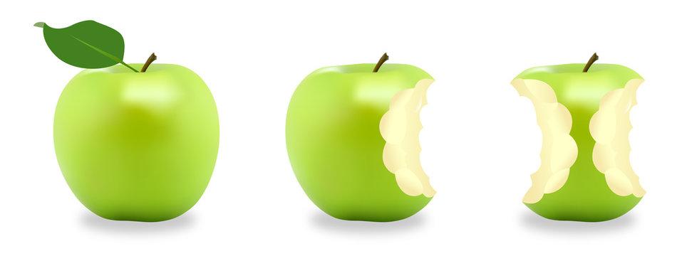Pommes vertes croquées