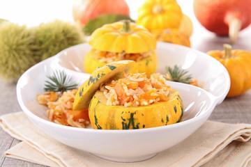 stuffed pumpkin and risotto