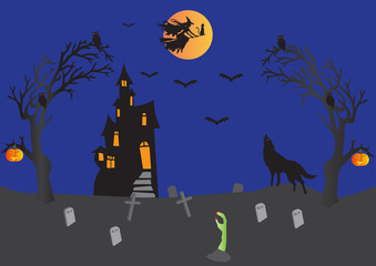Halloween Scene,witch,bats,haunted house,pumpkins,wolf