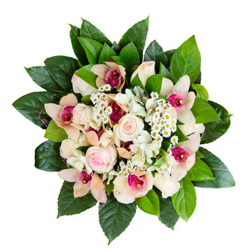 Boquet of roses and orchids isolated on white