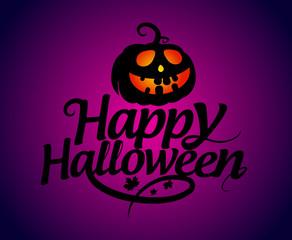 Happy Halloween card with pumpkin.