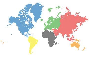 Poster Carte du monde Weltkarte Punkte Vektoren