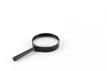Black frame magnifying glass on white background.