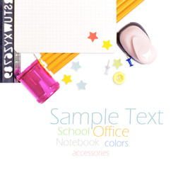 Photo of office and student gear over white background - Back to