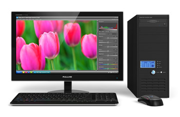 Desktop computer with photo editing software