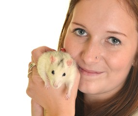woman with rat