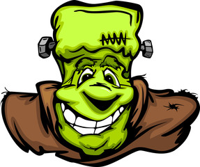 Happy Frankenstein Halloween Monster Head Cartoon Vector Illustr