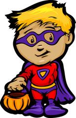 Cute Halloween Boy In Super Hero Costume Cartoon Vector Illustra