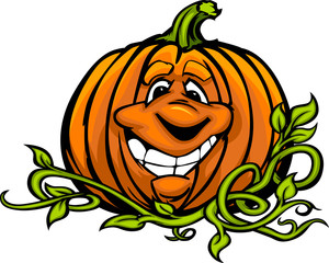 Happy Halloween Jack-O-Lantern Pumpkin Head Cartoon Vector Illus