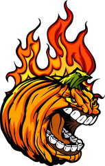 Screaming Halloween Jack-O-Lantern Pumpkin Head with Flames for