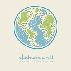 sketch illustration of planet earth