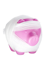 piggy bank covered with bandage