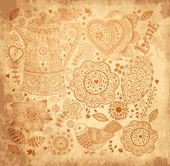 Fototapete - Vector vintage floral background