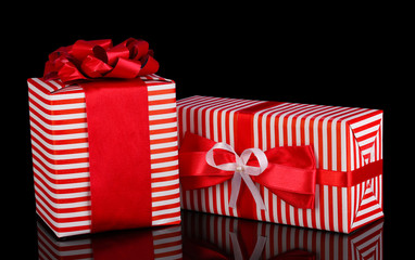 Colorful red gifts on purple background
