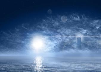 Beautiful night landscape of fantasy world