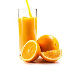 fresh healthy orange juice , on white background