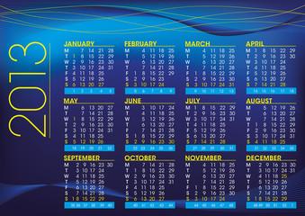 2013 night theme english calendar
