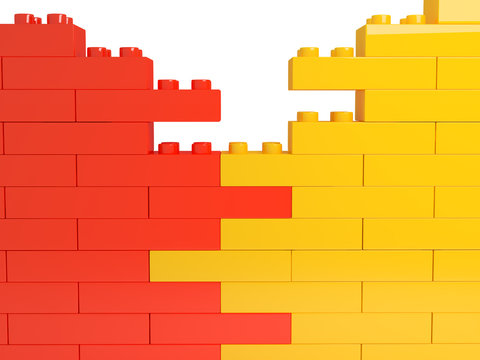wall from color plastic blocks