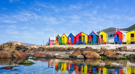 Photo on textile frame South Africa Colourful Beach Houses in South Africa