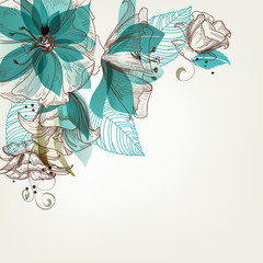 Spoed Fotobehang Abstract bloemen Retro flowers vector illustration
