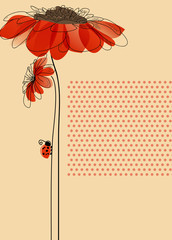 Poster Abstract Floral Elegant vector card with flowers and cute ladybug