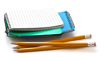Multicolored notebooks and pencils isolated on white