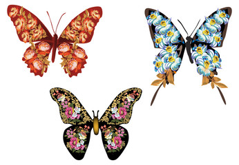 set of three butterflies formed from flowers