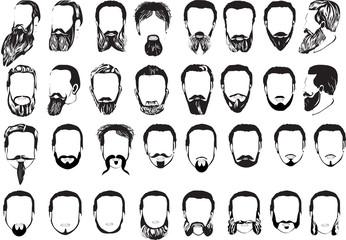 set of thirty two men beards