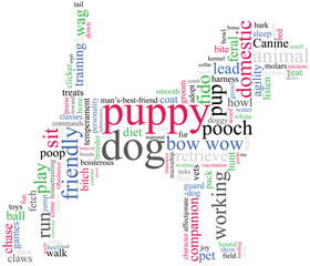 dog outline with describing words